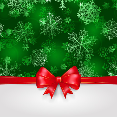 green ribbon: Christmas background with snowflakes in green colors and big red bow with horizontal ribbons Illustration