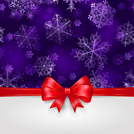 violet red: Christmas background with snowflakes in violet colors and big red bow with horizontal ribbons