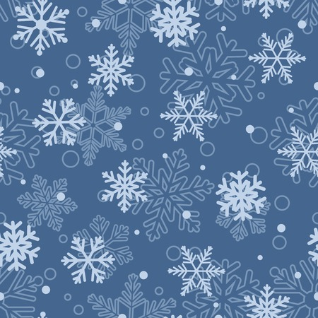 light blue: Christmas seamless pattern of big and small snowflakes, light blue on blue
