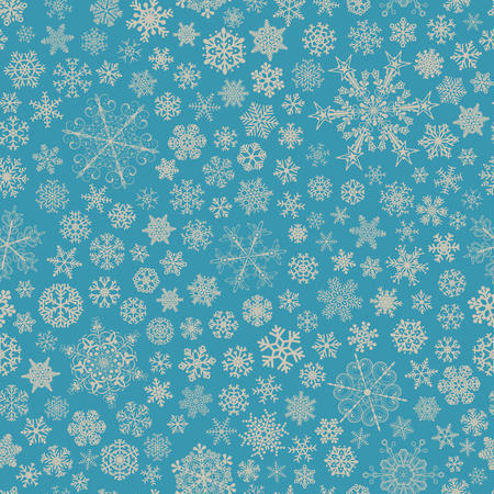 big and small: Christmas seamless pattern of big and small snowflakes, gray on light blue Illustration