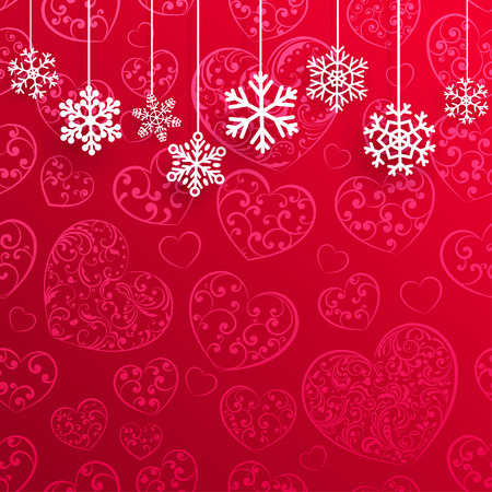 christmas decoration: Christmas background with hanging snowflakes on background of hearts in red colors