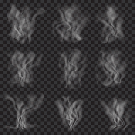 Set of translucent white smoke on transparent background. Transparency only in vector format