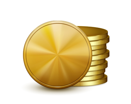cash icon: Stack of golden coins, isolated on white background