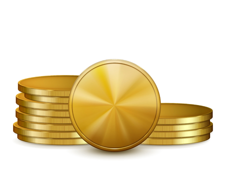 stack of coins: Stacks of golden coins, isolated on white background