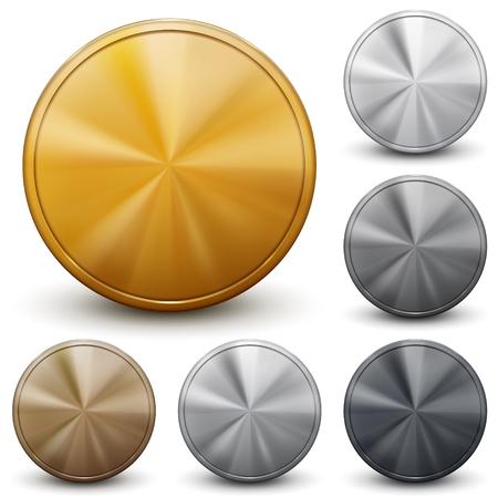 Zestaw złote, srebrne i brązowe monety bez napisów Ilustracje wektorowe