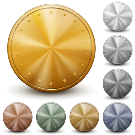 Set of golden, silver and bronze coins without inscriptions