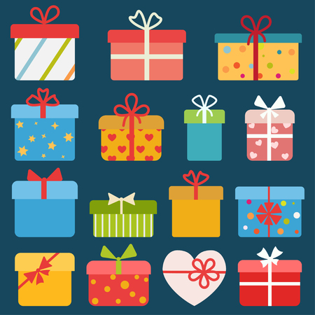 Set of different colorful gift boxes. Flat design