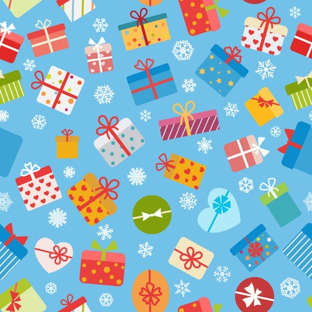 blue light background: Seamless pattern of colorful gift boxes on light blue background Illustration