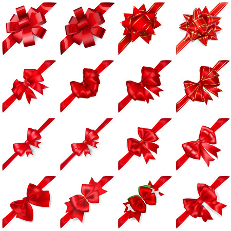 Set of realistic beautiful red bows with ribbons arranged diagonally with shadows