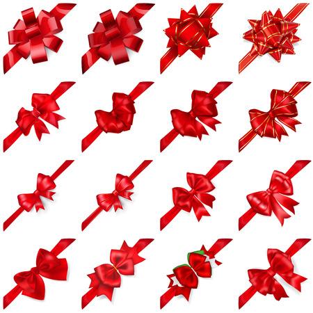 Set van realistische mooie rode bogen met linten diagonaal geregeld met schaduwen Stock Illustratie