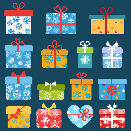present: Set of different colorful christmas gift boxes with snowflakes. Flat design Illustration