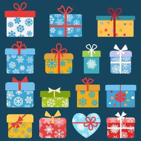 Set van verschillende kleurrijke kerst geschenk dozen met sneeuwvlokken. Plat ontwerp Stock Illustratie