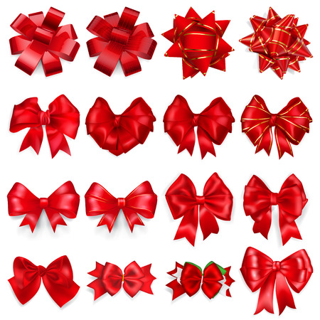 Set of realistic beautiful bows made of red ribbons with shadows Vectores
