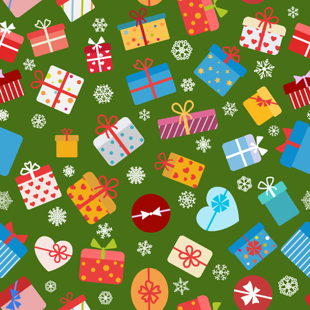 green background: Seamless pattern of colorful gift boxes on green background