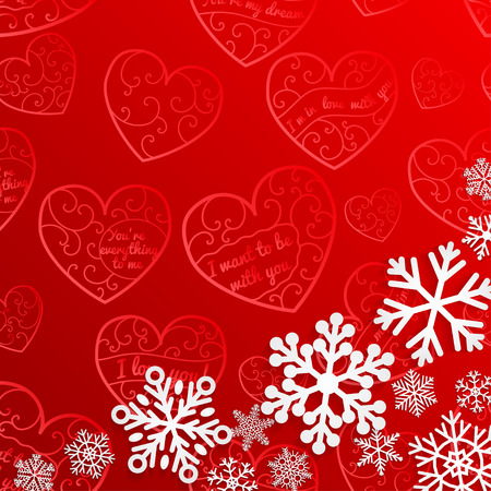 christmas star background: Christmas background with snowflakes on background of hearts in red colors Illustration