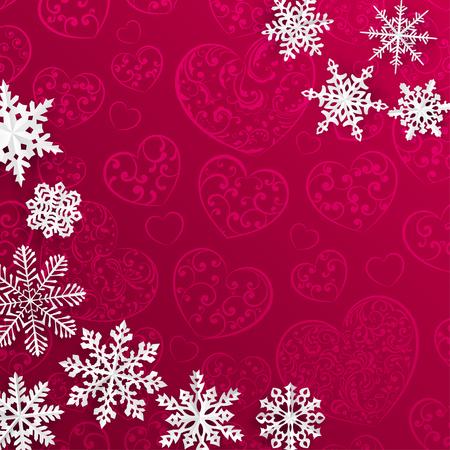flocon de neige: Fond de No�l avec des flocons de neige sur fond de coeurs dans les couleurs rouge