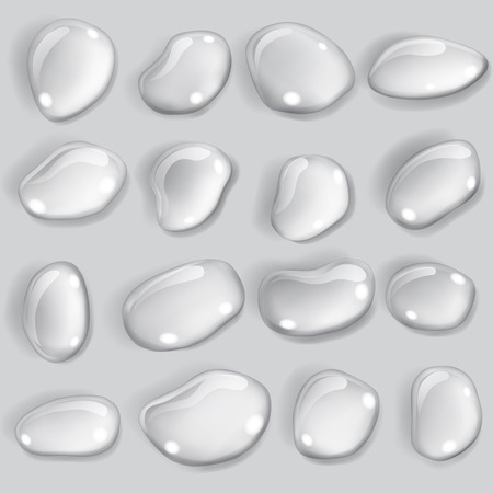 opaque: Set of opaque drops of different shapes in gray colors