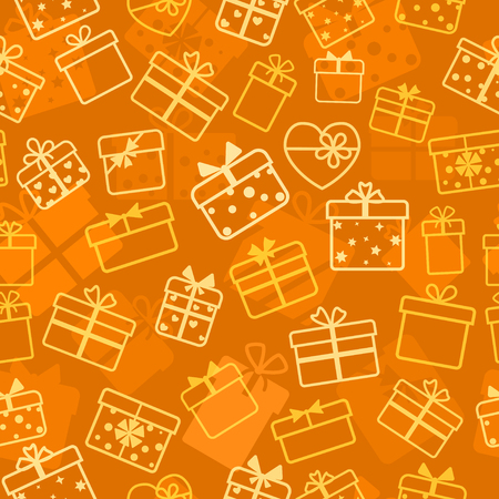 birthday cards: Seamless pattern of gift boxes, white on orange Illustration