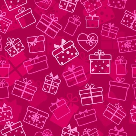 Seamless pattern of gift boxes, white on crimson
