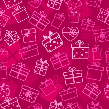 Seamless pattern of gift boxes, white on crimson