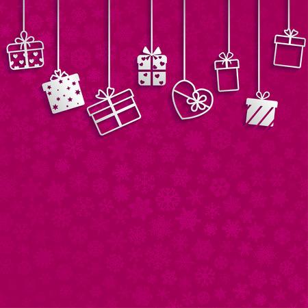 crimson: Background with hanging gift boxes, white on crimson Illustration