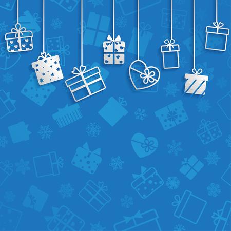 Background with hanging gift boxes, white on blue Ilustração