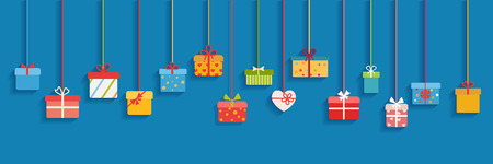 Background with multicolored hanging gift boxes on light blue background