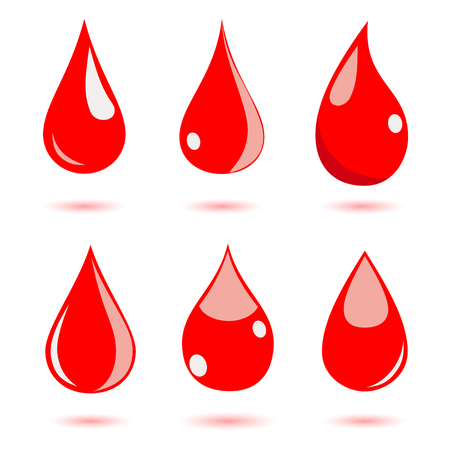 clean blood: Set of water drops in red colors. Flat design