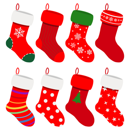 white stockings: Set of Christmas socks in red colors with various patterns