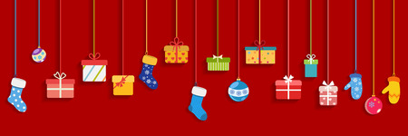 Background with multicolored hanging gift boxes, socks, mittens and christmas balls on red background