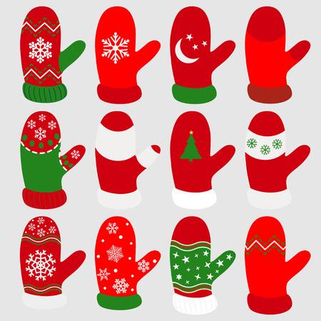 다양 한 패턴과 붉은 색에서 크리스마스 장갑의 집합