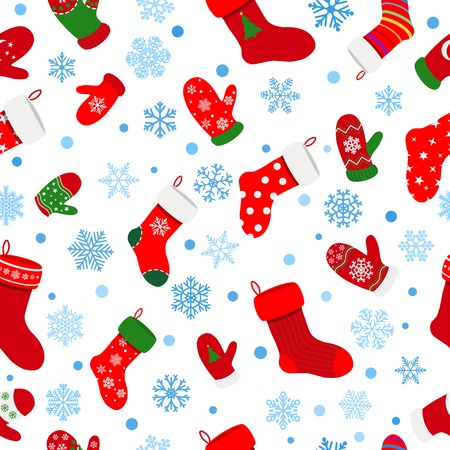 white socks: Seamless pattern of socks, mittens and snowflakes on white background