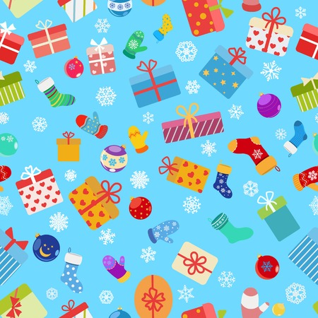 Seamless pattern of colorful gift boxes, socks, mittens and christmas balls
