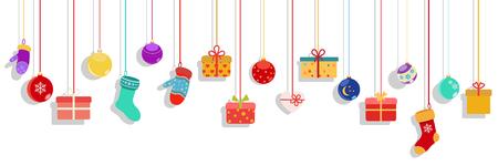 Achtergrond met veelkleurige hangende geschenkdozen, sokken, wanten en kerstballen op witte achtergrond Stock Illustratie