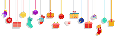 retail: Background with multicolored hanging gift boxes, socks, mittens and christmas balls on white background
