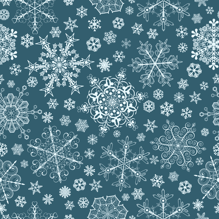 Christmas seamless pattern of big and small snowflakes, light blue on blue