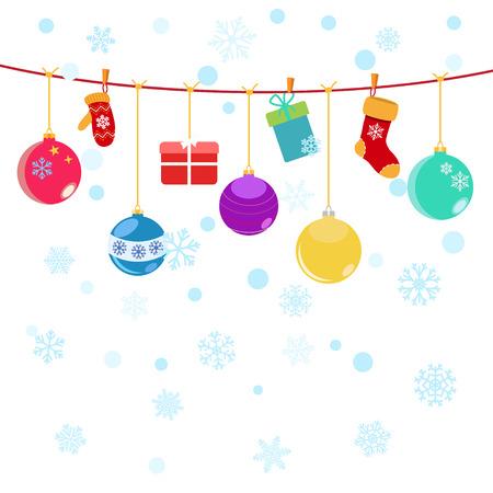 white socks: Christmas background with hanging gift boxes, socks and christmas balls on white Illustration