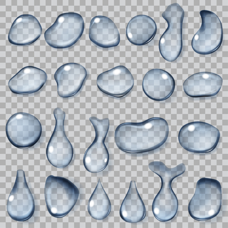 Set of transparent drops of different shapes in light blue colors. Transparency only in vector format Illustration