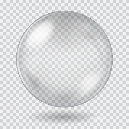 Big white transparent glass sphere with glares and shadow. Transparency only in vector file