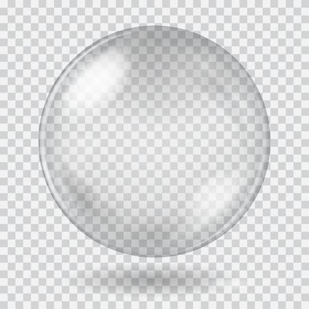 Gran blanco esfera de cristal transparente con brillos y sombras. Sólo transparencia en el archivo vectorial