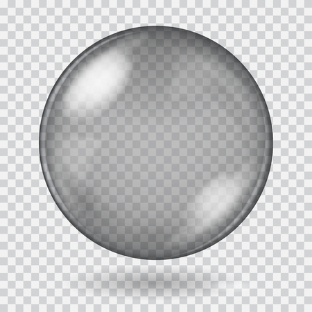glass sphere: Big black transparent glass sphere with glares and shadow. Transparency only in vector file