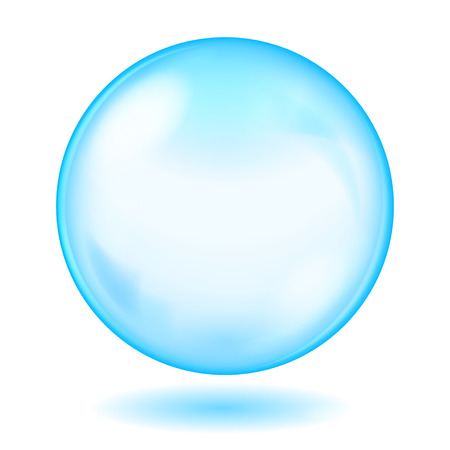 opaque: Big blue opaque glass sphere with glares and shadow Illustration