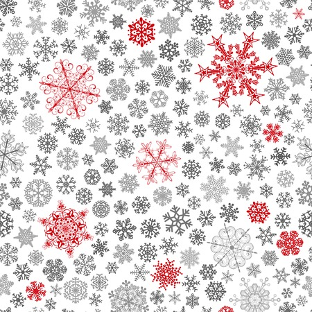christmas backdrop: Christmas seamless pattern of big and small snowflakes, red and gray on white