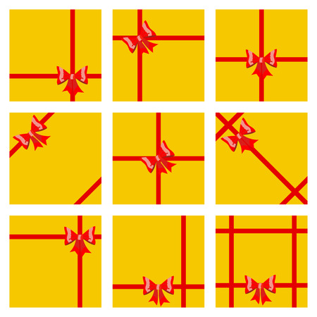 ribbons and bows: Set of yellow gift boxes, tied with red ribbons and bows. Top view. Flat design