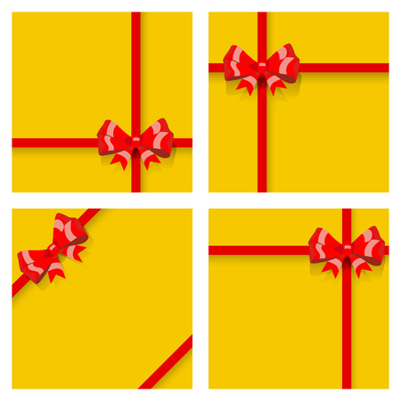 ribbons and bows: Set of yellow gift boxes, tied with red ribbons and bows, with shadows. Top view. Flat design