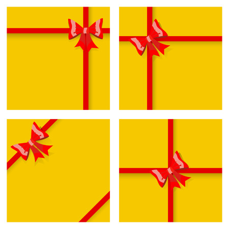 tied: Set of yellow gift boxes, tied with red ribbons and bows, with shadows. Top view. Flat design