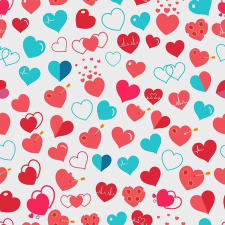 corazones azules: Seamless pattern of various simple red and light blue hearts on white background. Flat design Vectores