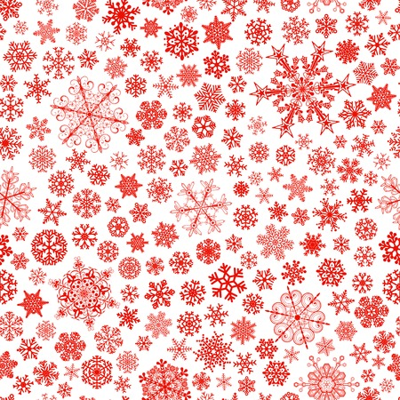 blizzards: Christmas seamless pattern of big and small snowflakes, red on white