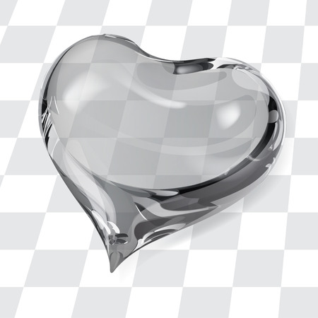crystalline: Big transparent heart in gray colors Illustration