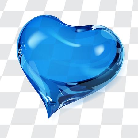 crystalline: Big transparent heart in blue colors